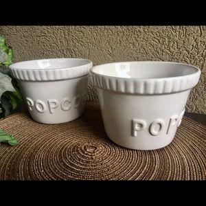 "White Ceramic ""Popcorn"" Bowls - Set 2"
